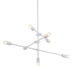 Κρεμαστό Φωτιστικό Οροφής 7xE27 με Ρυθμιζόμενους Σωλήνες Μεταλλικό Λευκό ACA - OD680107WH