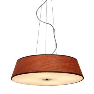 Κρεμαστό Φωτιστικό Οροφής 4xE27 ø450 Γυαλί-Ύφασμα Καφέ Ξύλο ACA - DL607A