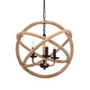 Κρεμαστό Φωτιστικό Οροφής Κύκλοι 3xE14 Σχοινί-Μέταλλο Καφέ-Μαύρο ACA - 563503PCR