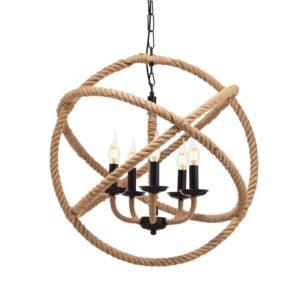 Κρεμαστό Φωτιστικό Οροφής Κύκλοι 5xE14 Σχοινί-Μέταλλο Καφέ-Μαύρο ACA - 563625PCR