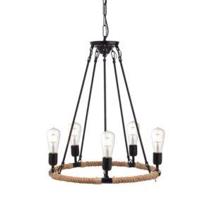 Κρεμαστό Φωτιστικό Οροφής 5xE27 Σχοινί-Μέταλλο Καφέ-Μαύρο ACA - 853505PBR