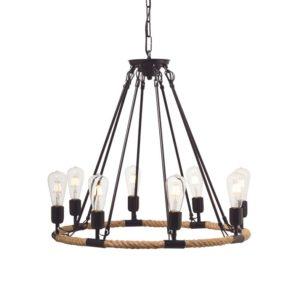 Κρεμαστό Φωτιστικό Οροφής 8xE27 Σχοινί-Μέταλλο Καφέ-Μαύρο ACA - 853608PBR