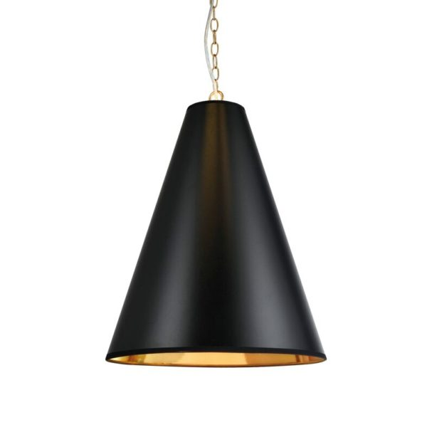Κρεμαστό Φωτιστικό Οροφής 3xE14 Ø400 Μέταλλο-Χαρτί Μαύρο-Χρυσό-Ορείχαλκος ACA - AD8029BG