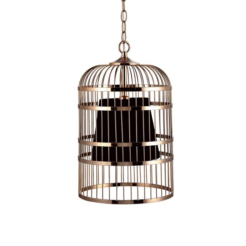 Κρεμαστό Φωτιστικό Οροφής E14 Ø250 Κλουβί Μέταλλο-Ύφασμα Μαύρο ACA - AD80391P