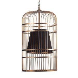 Κρεμαστό Φωτιστικό Οροφής 3xE14 Ø300 Κλουβί Μέταλλο-Ύφασμα Μαύρο ACA - AD80393P