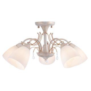 Φωτιστικό Οροφής 5xE14 Ø540 Μέταλλο-Γυαλί-Κρύσταλλο Λευκό-Χρυσό ACA - DLA12125