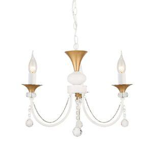 Κρεμαστό Φωτιστικό Οροφής 3xE14 Ø515 Μέταλλο-Κρύσταλλο Λευκό-Χρυσό ACA - DLA12143P