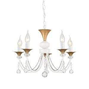 Κρεμαστό Φωτιστικό Οροφής 5xE14 Ø515 Μέταλλο-Κρύσταλλο Λευκό-Χρυσό ACA - DLA12145P