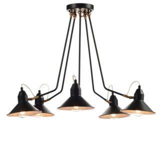 Φωτιστικό Οροφής με Ρυθμιζόμενες Κεφαλές 5xE27 Ø690 Μεταλλικό Μαύρο-Χρυσοχάλκινο ACA - KS19915PB