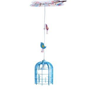 Παιδικό Φωτιστικό Οροφής Γαλάζιο Κλουβί E27 Ø200 Πλαστικό-MDF ACA - MD150411B