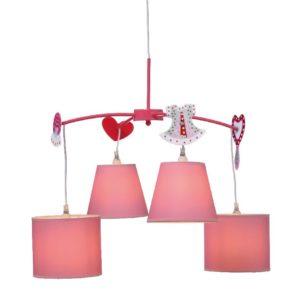 Παιδικό Φωτιστικό Οροφής 4xE14 Ø650 Μέταλλο-Ύφασμα Ροζ ACA - MD91044