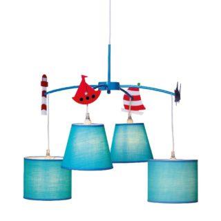 Παιδικό Φωτιστικό Οροφής 4xE14 Ø650 Μέταλλο-Ύφασμα Μπλε ACA - MD91054