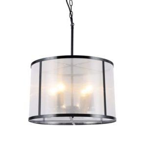 Κρεμαστό Φωτιστικό Οροφής 4xE27 Ø400 Μέταλλο-Ύφασμα-Πλαστικό Μαύρο-Λευκό ACA - OD61054