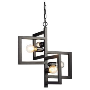 Κρεμαστό Φωτιστικό Οροφής Τετράγωνα 4xE27 Μεταλλικό Μαύρο ACA - KS14254BK