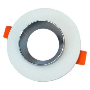 Γύψινη Βάση GU10 - MR16 V-TAC Χωνευτή Στρογγυλή Χρώμιο-Λευκό - 3127