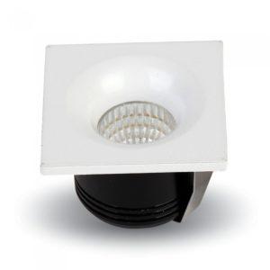 LED Φωτιστικό Οροφής Χωνευτό 3W V-TAC Ø36mm Τετράγωνο Σταθερό Ψυχρό Λευκό 6400K - 5110