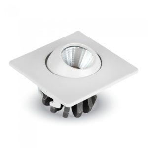 LED Φωτιστικό Οροφής Χωνευτό 3W V-TAC Ø36mm Τετράγωνο Περιστρεφόμενο Θερμό Λευκό 2700K - 5095