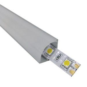 Προφίλ Αλουμινίου Γωνιακό 90° Επιτοίχιο Milky Cover για ταινίες LED -77477